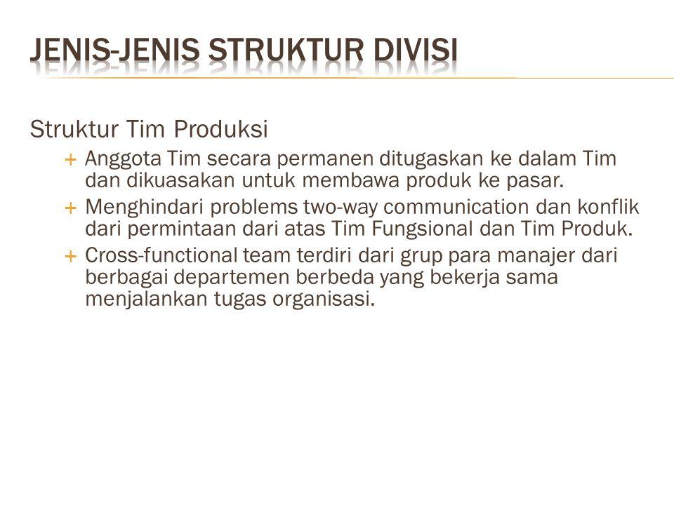 Struktur Tim Produksi  Anggota Tim secara permanen ditugaskan ke dalam Tim dan dikuasakan untuk membawa produk ke pasar.  Menghindari problems two-w