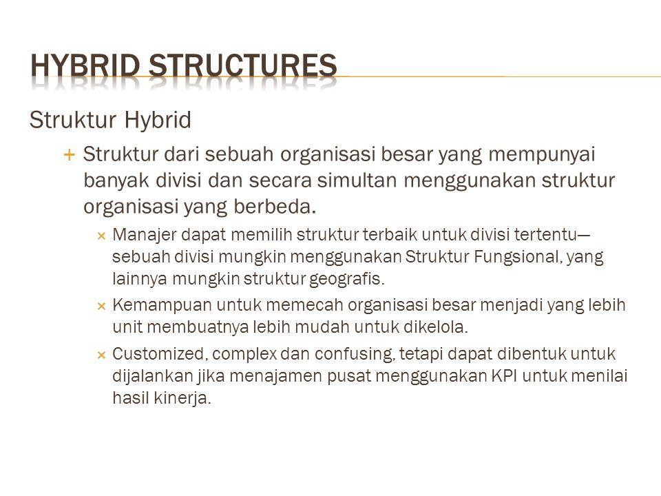 Struktur Hybrid  Struktur dari sebuah organisasi besar yang mempunyai banyak divisi dan secara simultan menggunakan struktur organisasi yang berbeda.