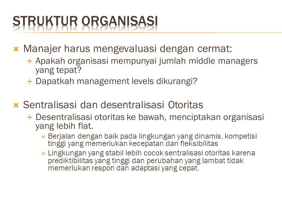  Manajer harus mengevaluasi dengan cermat:  Apakah organisasi mempunyai jumlah middle managers yang tepat?  Dapatkah management levels dikurangi? 