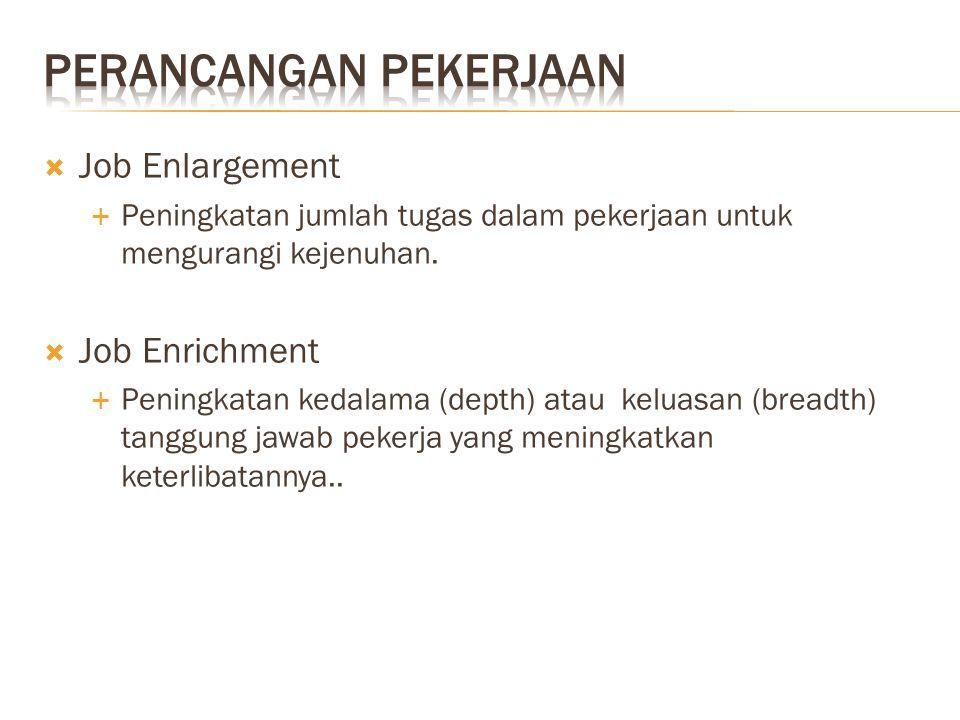  Job Enlargement  Peningkatan jumlah tugas dalam pekerjaan untuk mengurangi kejenuhan.  Job Enrichment  Peningkatan kedalama (depth) atau keluasan
