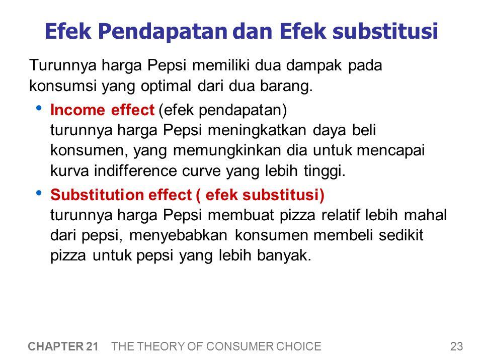 23 CHAPTER 21 THE THEORY OF CONSUMER CHOICE Efek Pendapatan dan Efek substitusi Turunnya harga Pepsi memiliki dua dampak pada konsumsi yang optimal da