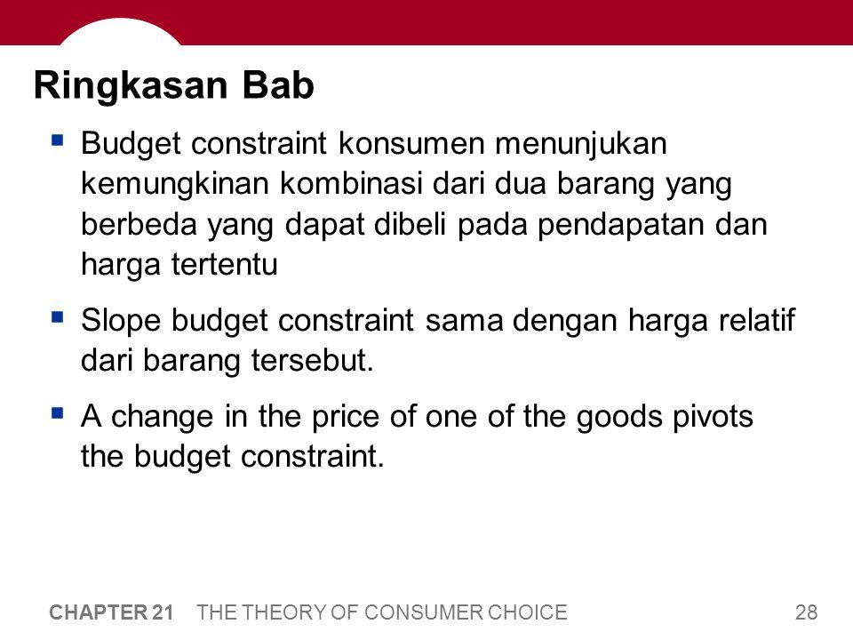 28 CHAPTER 21 THE THEORY OF CONSUMER CHOICE Ringkasan Bab  Budget constraint konsumen menunjukan kemungkinan kombinasi dari dua barang yang berbeda y
