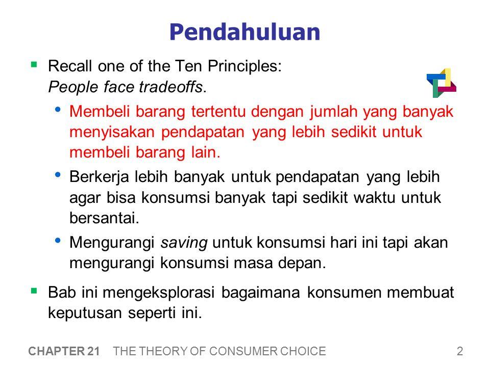 2 CHAPTER 21 THE THEORY OF CONSUMER CHOICE Pendahuluan  Recall one of the Ten Principles: People face tradeoffs. Membeli barang tertentu dengan jumla