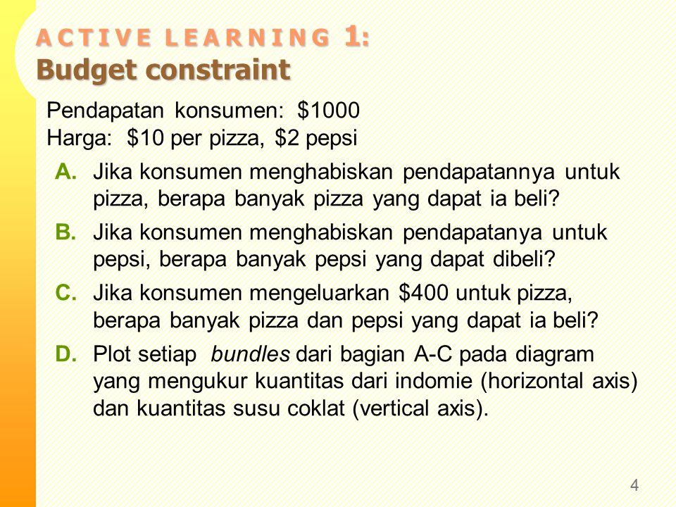 A C T I V E L E A R N I N G 1 : Budget constraint Pendapatan konsumen: $1000 Harga: $10 per pizza, $2 pepsi A.Jika konsumen menghabiskan pendapatannya