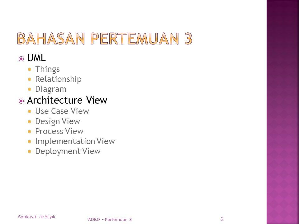  Use case Diagram  Sequence Diagram; Collaboration Diagram  Class Diagram; Object Diagram  Statechart Diagram  Activity Diagram  Component Diagram  Deployment Diagram Syukriya al-Asyik ADBO - Pertemuan 3 43