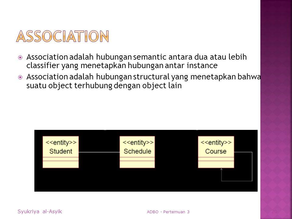 Association adalah hubungan semantic antara dua atau lebih classifier yang menetapkan hubungan antar instance  Association adalah hubungan structural yang menetapkan bahwa suatu object terhubung dengan object lain Syukriya al-Asyik ADBO - Pertemuan 3 20