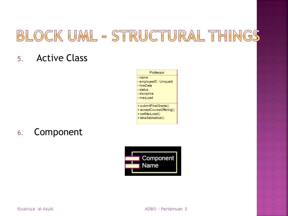 Use case Diagram  Sequence Diagram; Collaboration Diagram  Class Diagram; Object Diagram  Statechart Diagram  Activity Diagram  Component Diagram  Deployment Diagram Syukriya al-Asyik ADBO - Pertemuan 3 38