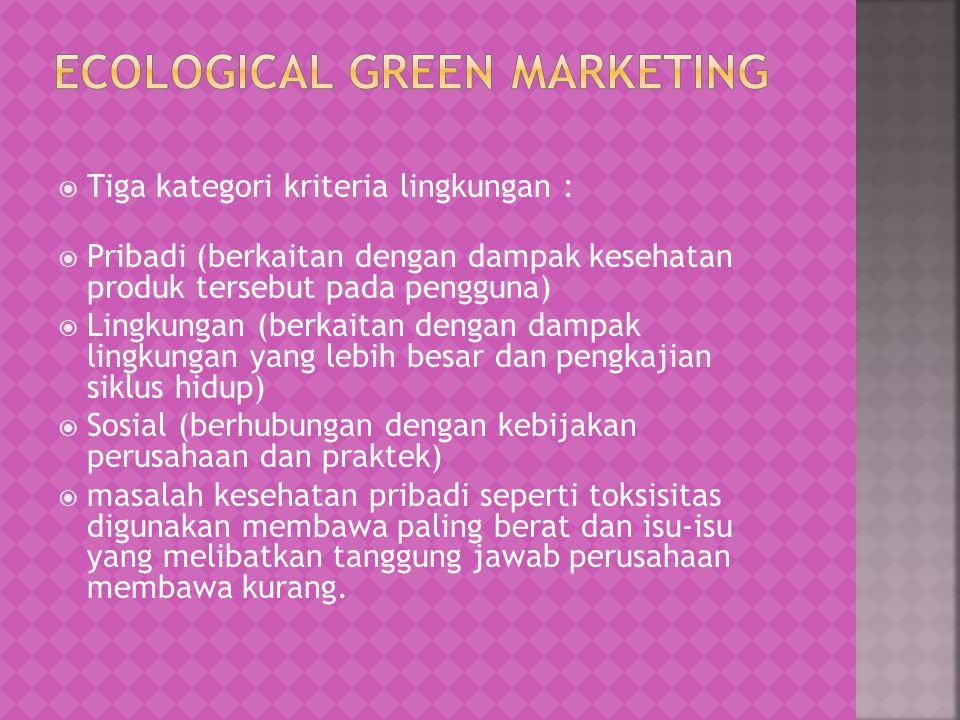  Tiga kategori kriteria lingkungan :  Pribadi (berkaitan dengan dampak kesehatan produk tersebut pada pengguna)  Lingkungan (berkaitan dengan dampa
