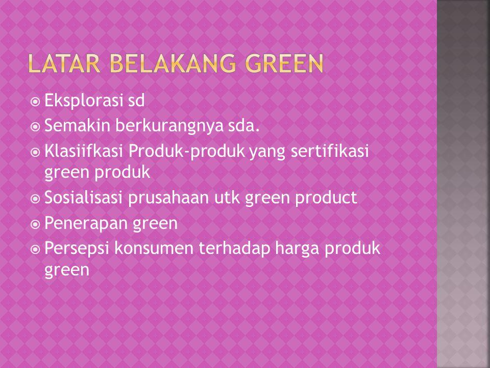  Eksplorasi sd  Semakin berkurangnya sda.  Klasiifkasi Produk-produk yang sertifikasi green produk  Sosialisasi prusahaan utk green product  Pene