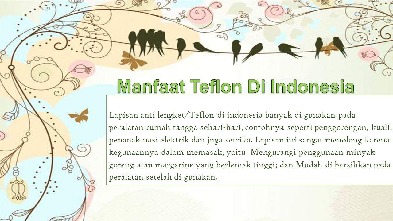 Lapisan anti lengket/Teflon di indonesia banyak di gunakan pada peralatan rumah tangga sehari-hari, contohnya seperti penggorengan, kuali, penanak nas