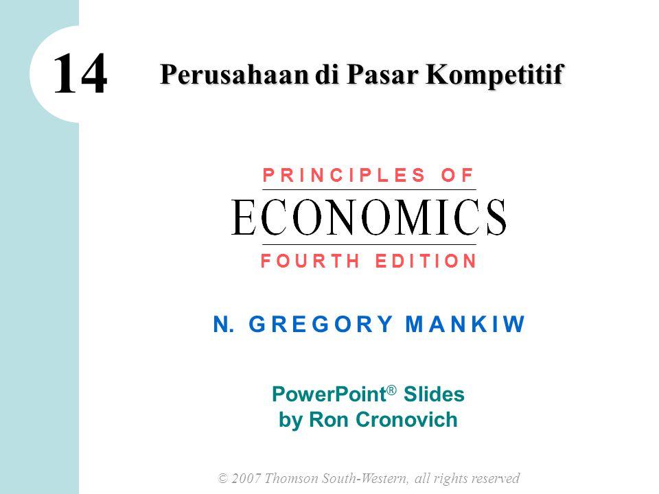 11 CHAPTER 14 FIRMS IN COMPETITIVE MARKETS P1P1 MR P2P2 MR 2 MC dan the Firm's Supply Decision Jika harga meningkat pada P 2, Maka jumlah yang profit-maximizing akan meningkatkan Q 2.