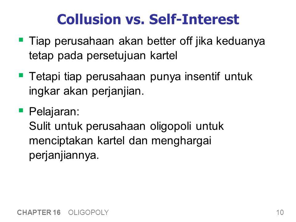 10 CHAPTER 16 OLIGOPOLY Collusion vs. Self-Interest  Tiap perusahaan akan better off jika keduanya tetap pada persetujuan kartel  Tetapi tiap perusa
