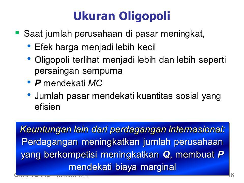 16 CHAPTER 16 OLIGOPOLY Ukuran Oligopoli  Saat jumlah perusahaan di pasar meningkat, Efek harga menjadi lebih kecil Oligopoli terlihat menjadi lebih