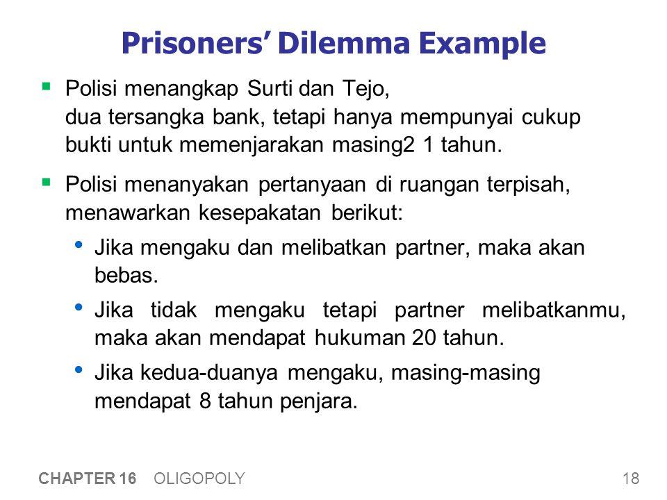 18 CHAPTER 16 OLIGOPOLY Prisoners' Dilemma Example  Polisi menangkap Surti dan Tejo, dua tersangka bank, tetapi hanya mempunyai cukup bukti untuk mem