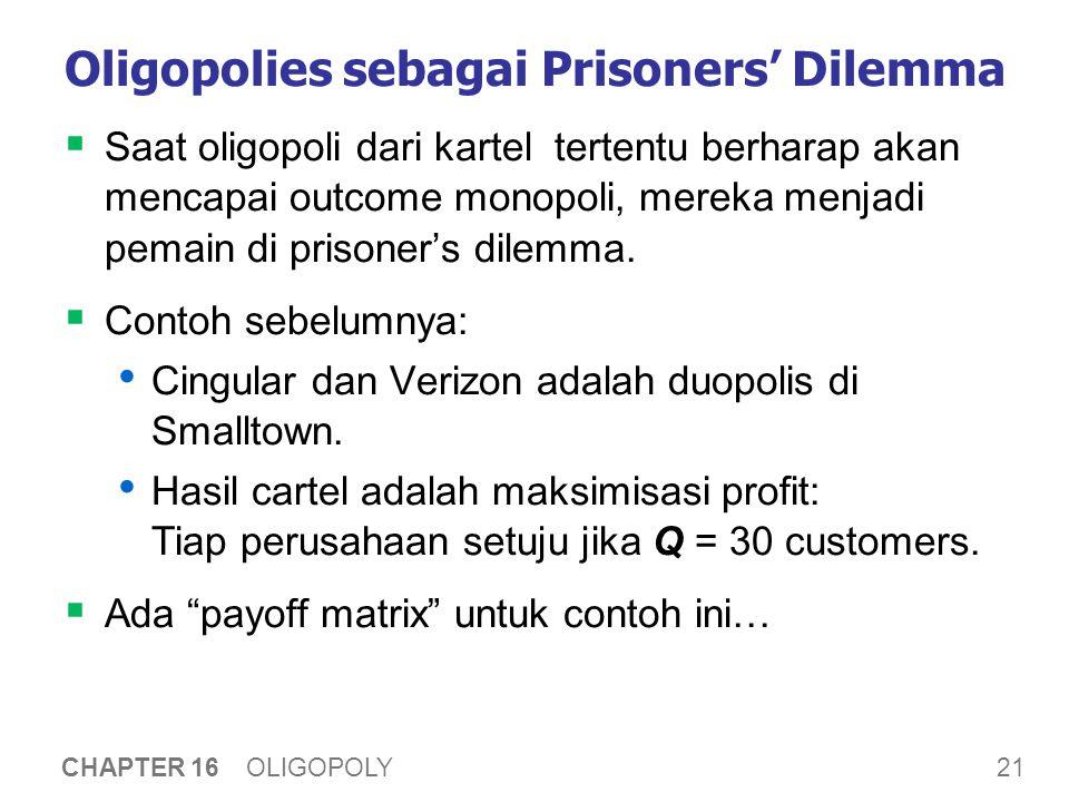 21 CHAPTER 16 OLIGOPOLY Oligopolies sebagai Prisoners' Dilemma  Saat oligopoli dari kartel tertentu berharap akan mencapai outcome monopoli, mereka m