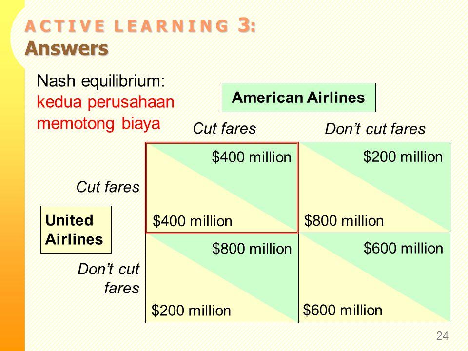 A C T I V E L E A R N I N G 3 : Answers Nash equilibrium: kedua perusahaan memotong biaya 24 Cut fares Don't cut fares Cut fares Don't cut fares Ameri