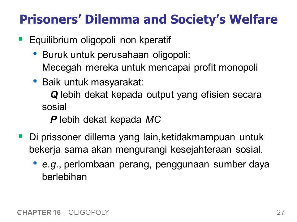27 CHAPTER 16 OLIGOPOLY Prisoners' Dilemma and Society's Welfare  Equilibrium oligopoli non kperatif Buruk untuk perusahaan oligopoli: Mecegah mereka