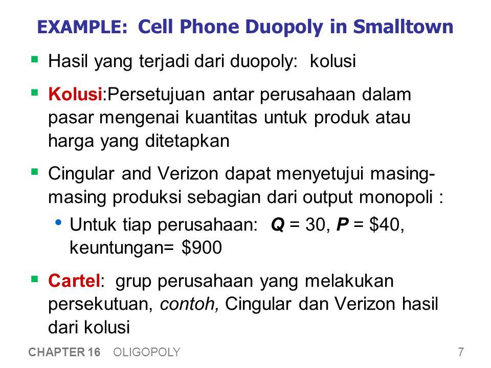 7 CHAPTER 16 OLIGOPOLY EXAMPLE: Cell Phone Duopoly in Smalltown  Hasil yang terjadi dari duopoly: kolusi  Kolusi:Persetujuan antar perusahaan dalam