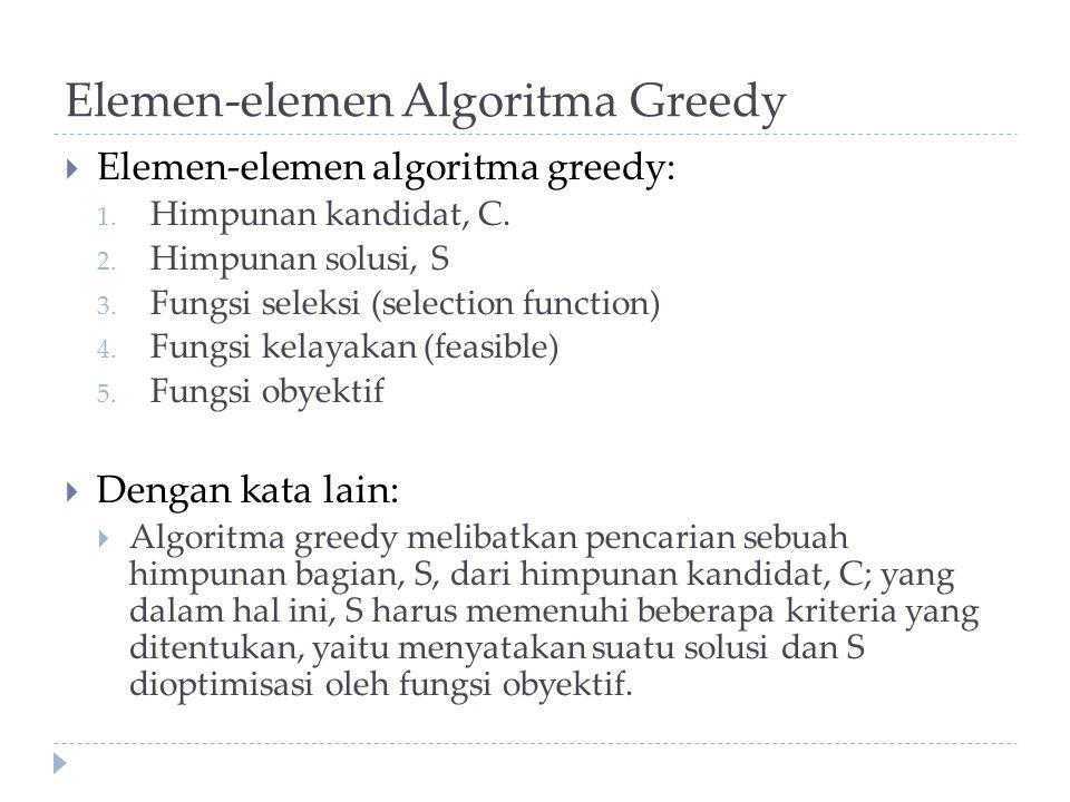 Elemen-elemen Algoritma Greedy  Elemen-elemen algoritma greedy: 1. Himpunan kandidat, C. 2. Himpunan solusi, S 3. Fungsi seleksi (selection function)