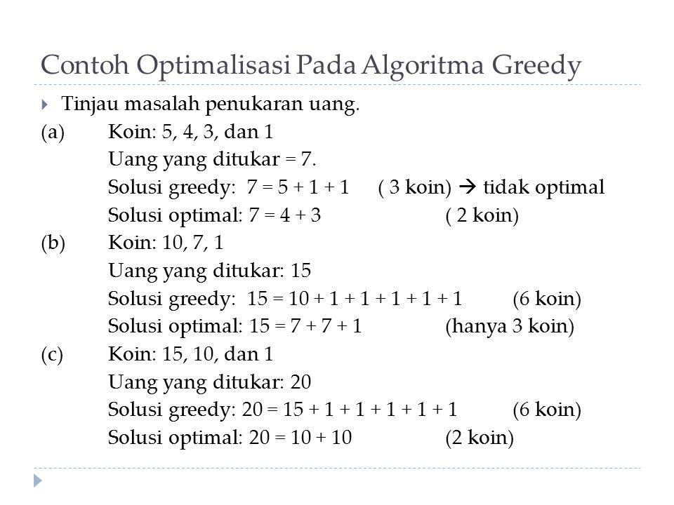 Contoh Optimalisasi Pada Algoritma Greedy  Tinjau masalah penukaran uang. (a) Koin: 5, 4, 3, dan 1 Uang yang ditukar = 7. Solusi greedy: 7 = 5 + 1 +