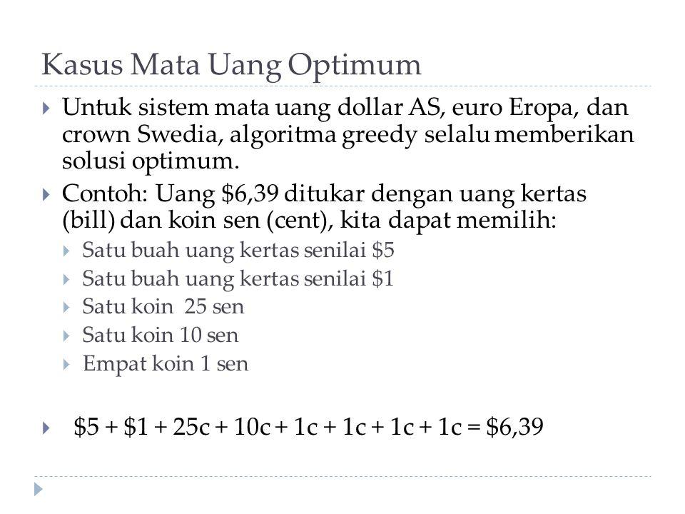 Kasus Mata Uang Optimum  Untuk sistem mata uang dollar AS, euro Eropa, dan crown Swedia, algoritma greedy selalu memberikan solusi optimum.  Contoh: