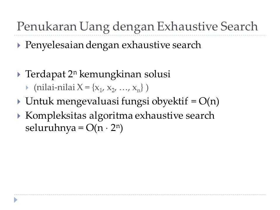 Penukaran Uang dengan Exhaustive Search  Penyelesaian dengan exhaustive search  Terdapat 2 n kemungkinan solusi  (nilai-nilai X = {x 1, x 2, …, x n