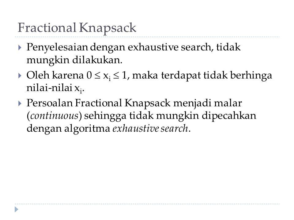  Penyelesaian dengan exhaustive search, tidak mungkin dilakukan.  Oleh karena 0  x i  1, maka terdapat tidak berhinga nilai-nilai x i.  Persoalan