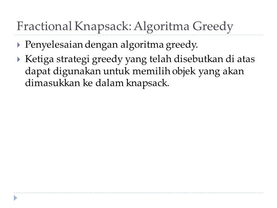 Fractional Knapsack: Algoritma Greedy  Penyelesaian dengan algoritma greedy.  Ketiga strategi greedy yang telah disebutkan di atas dapat digunakan u