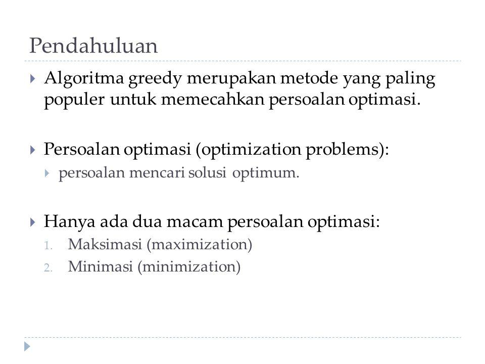 Contoh: Greedy 0/1 Knapsack Solusi optimal: X = (0, 1, 1, 0) Greedy by profit dan greedy by density memberikan solusi optimal.