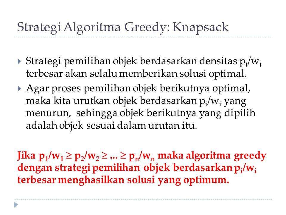 Strategi Algoritma Greedy: Knapsack  Strategi pemilihan objek berdasarkan densitas p i /w i terbesar akan selalu memberikan solusi optimal.  Agar pr