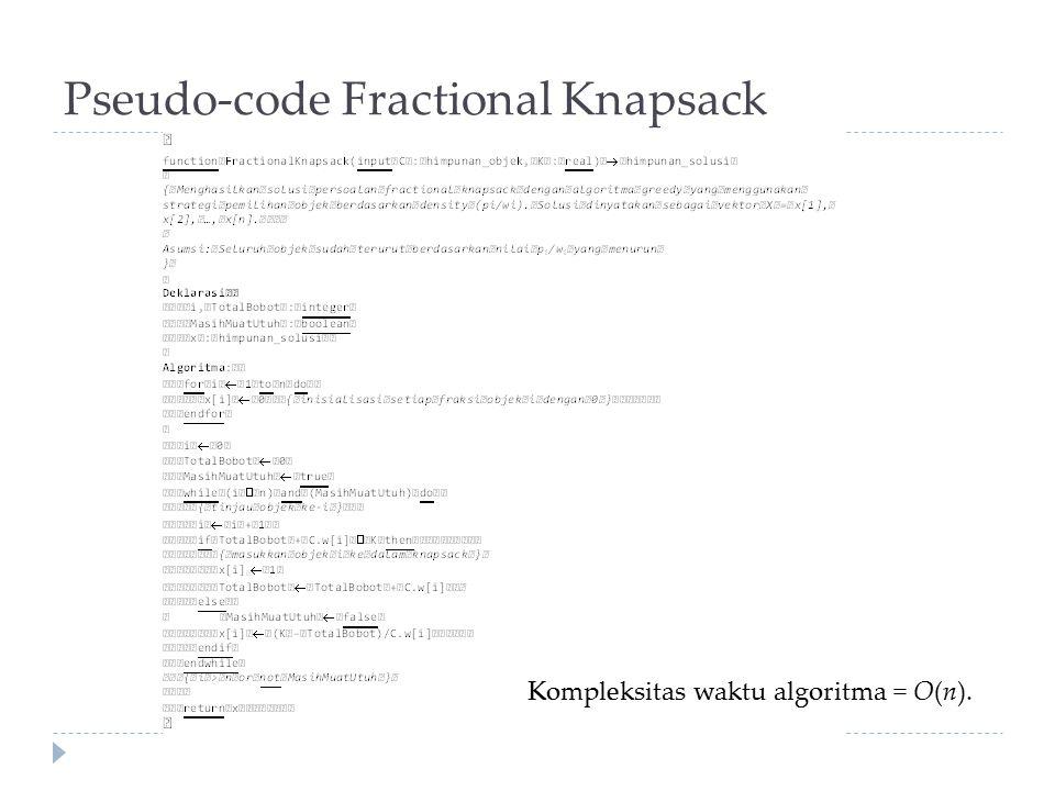 Pseudo-code Fractional Knapsack Kompleksitas waktu algoritma = O(n).