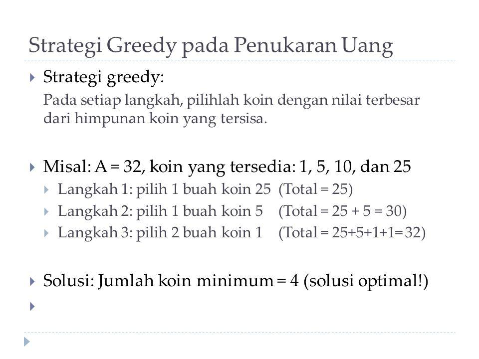 Strategi Greedy pada Penukaran Uang  Strategi greedy: Pada setiap langkah, pilihlah koin dengan nilai terbesar dari himpunan koin yang tersisa.  Mis