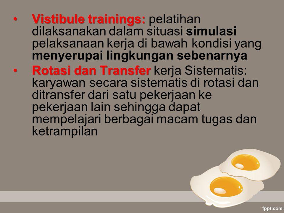Vistibule trainings:Vistibule trainings: pelatihan dilaksanakan dalam situasi simulasi pelaksanaan kerja di bawah kondisi yang menyerupai lingkungan s