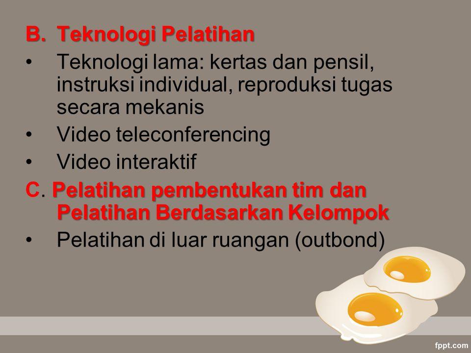 B.Teknologi Pelatihan Teknologi lama: kertas dan pensil, instruksi individual, reproduksi tugas secara mekanis Video teleconferencing Video interaktif