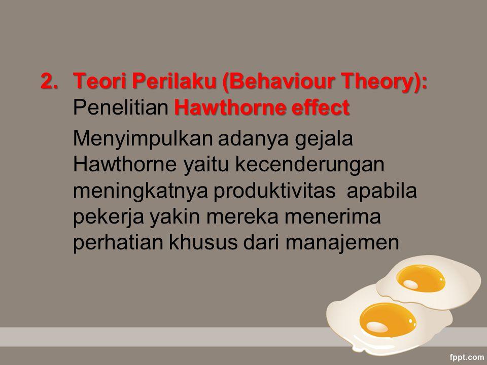 2.Teori Perilaku (Behaviour Theory): Hawthorne effect 2.Teori Perilaku (Behaviour Theory): Penelitian Hawthorne effect Menyimpulkan adanya gejala Hawt