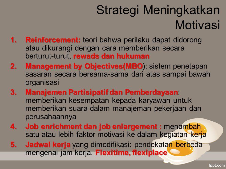 Strategi Meningkatkan Motivasi 1.Reinforcement: rewads dan hukuman 1.Reinforcement: teori bahwa perilaku dapat didorong atau dikurangi dengan cara mem