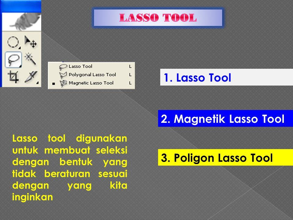 1.Lasso Tool beguna untuk membuat seleksi yang bentuknya tidak beraturan.