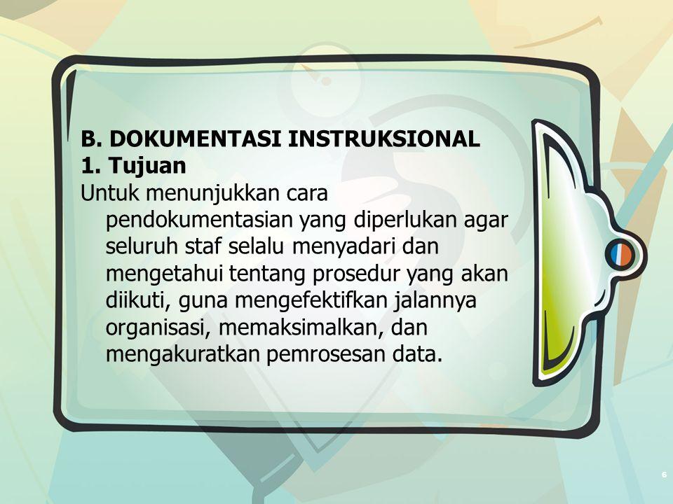 6 B. DOKUMENTASI INSTRUKSIONAL 1.