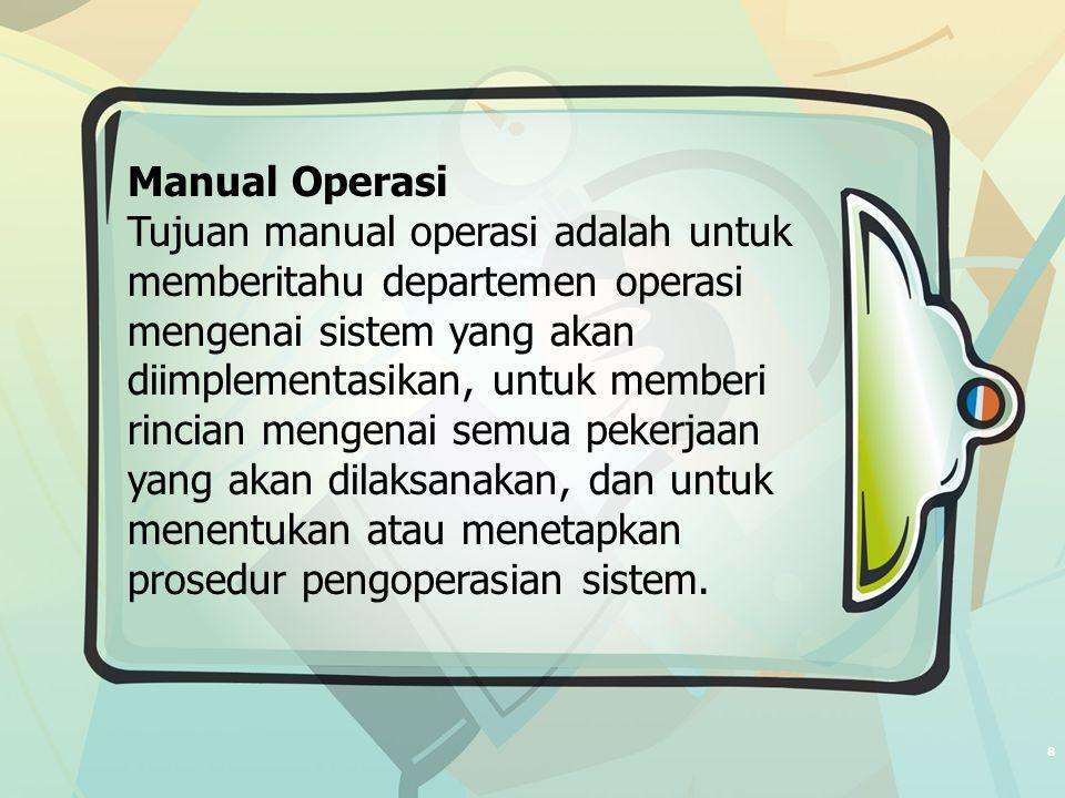 8 Manual Operasi Tujuan manual operasi adalah untuk memberitahu departemen operasi mengenai sistem yang akan diimplementasikan, untuk memberi rincian mengenai semua pekerjaan yang akan dilaksanakan, dan untuk menentukan atau menetapkan prosedur pengoperasian sistem.