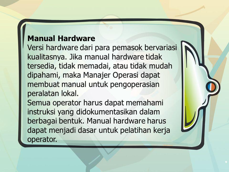 9 Manual Hardware Versi hardware dari para pemasok bervariasi kualitasnya.