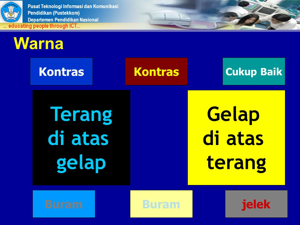 Pusat Teknologi Informasi dan Komunikasi Pendidikan (Pustekkom) Departemen Pendidikan Nasional... educating people through ICT... Warna Terang di atas
