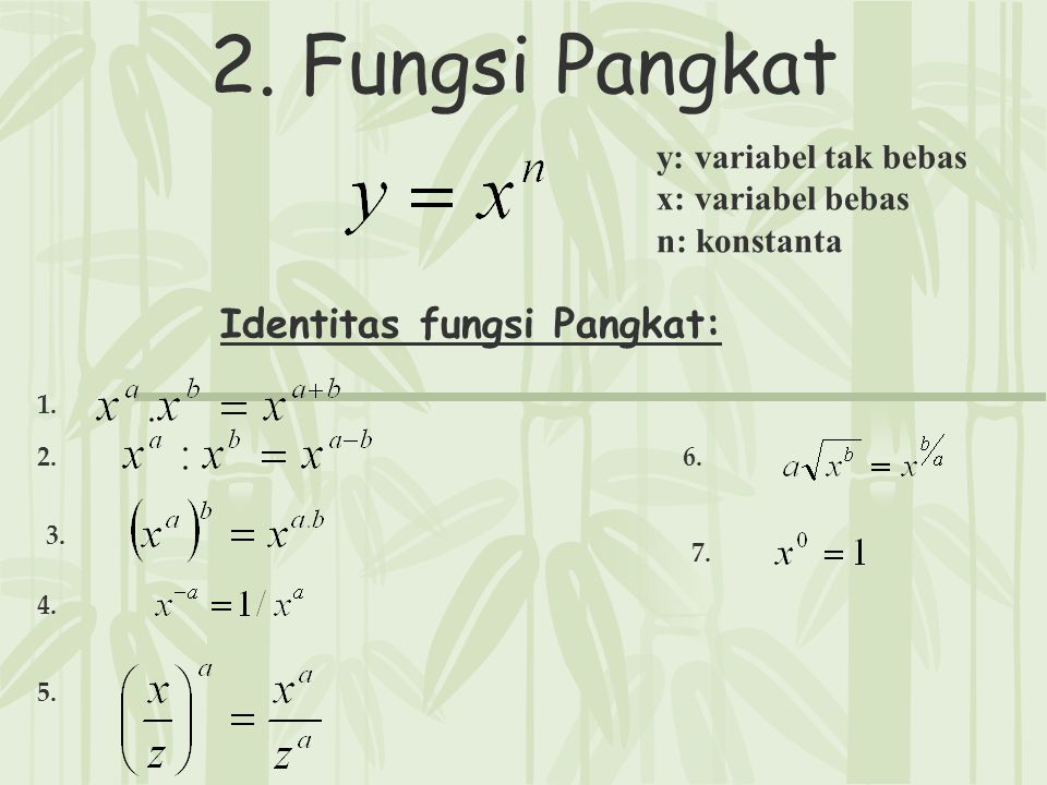 2. Fungsi Pangkat y: variabel tak bebas x: variabel bebas n: konstanta Identitas fungsi Pangkat: 1. 2. 3. 4. 5. 6. 7.