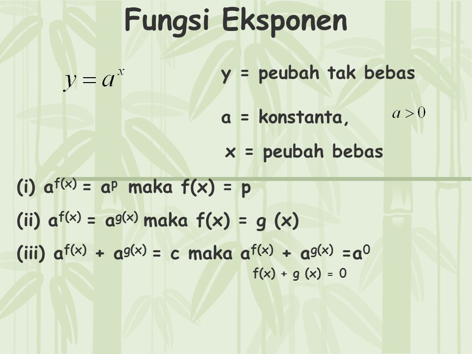 Fungsi Eksponen y = peubah tak bebas a = konstanta, x = peubah bebas (i) a f(x) = a p maka f(x) = p (ii) a f(x) = a g(x) maka f(x) = g (x) (iii) a f(x