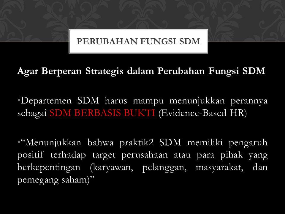 """Agar Berperan Strategis dalam Perubahan Fungsi SDM Departemen SDM harus mampu menunjukkan perannya sebagai SDM BERBASIS BUKTI (Evidence-Based HR) """"Men"""