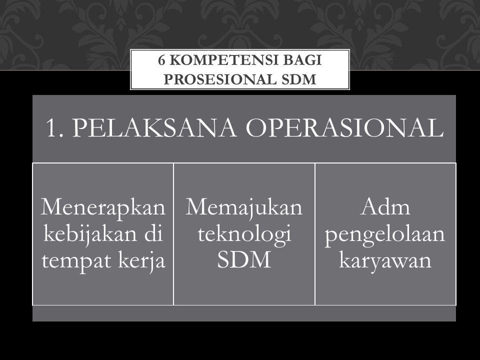 6 KOMPETENSI BAGI PROSESIONAL SDM 1. PELAKSANA OPERASIONAL Menerapkan kebijakan di tempat kerja Memajukan teknologi SDM Adm pengelolaan karyawan