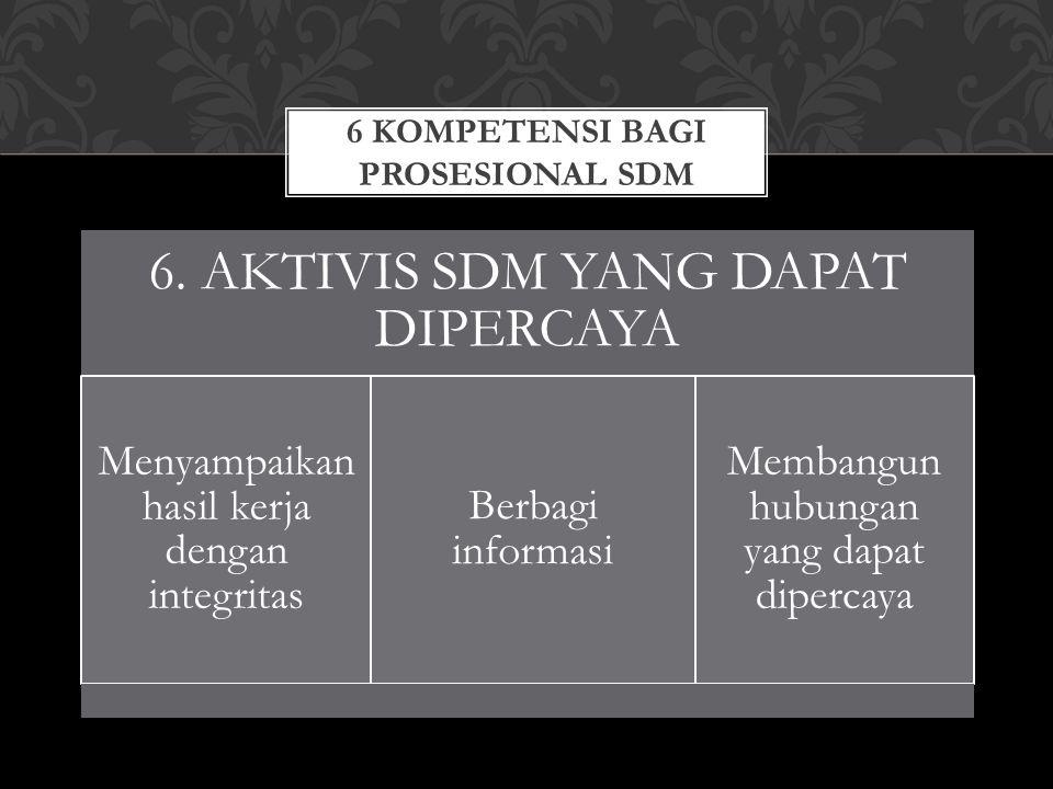 6 KOMPETENSI BAGI PROSESIONAL SDM 6. AKTIVIS SDM YANG DAPAT DIPERCAYA Menyampaikan hasil kerja dengan integritas Berbagi informasi Membangun hubungan