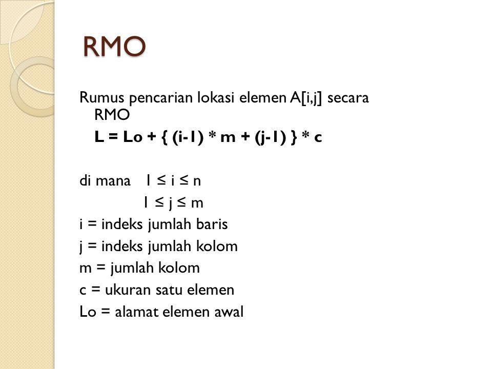 RMO Rumus pencarian lokasi elemen A[i,j] secara RMO L = Lo + { (i-1) * m + (j-1) } * c di mana 1 ≤ i ≤ n 1 ≤ j ≤ m i = indeks jumlah baris j = indeks