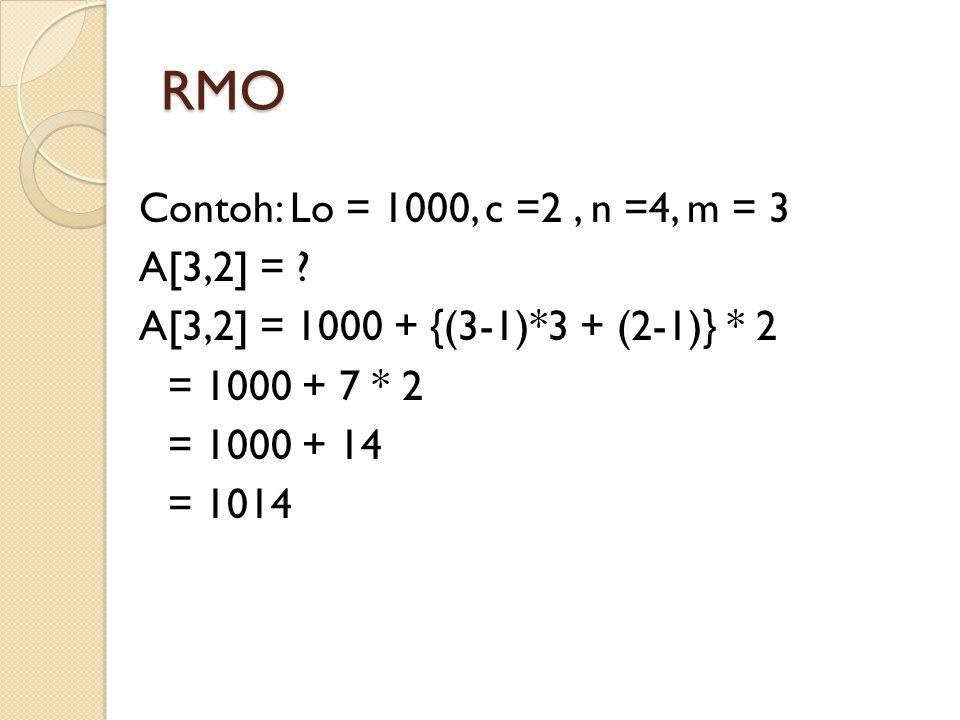 RMO Contoh: Lo = 1000, c =2, n =4, m = 3 A[3,2] = ? A[3,2] = 1000 + {(3-1)*3 + (2-1)} * 2 = 1000 + 7 * 2 = 1000 + 14 = 1014