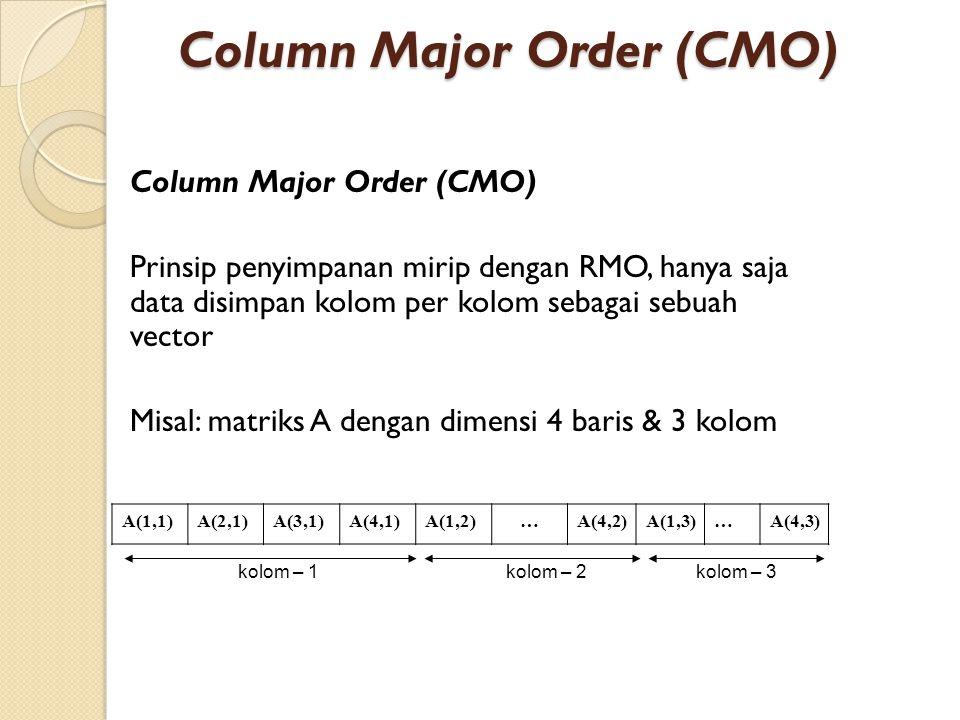 Column Major Order (CMO) Prinsip penyimpanan mirip dengan RMO, hanya saja data disimpan kolom per kolom sebagai sebuah vector Misal: matriks A dengan