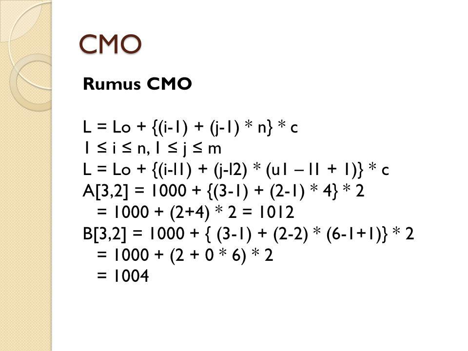 CMO Rumus CMO L = Lo + {(i-1) + (j-1) * n} * c 1 ≤ i ≤ n, 1 ≤ j ≤ m L = Lo + {(i-l1) + (j-l2) * (u1 – l1 + 1)} * c A[3,2] = 1000 + {(3-1) + (2-1) * 4}